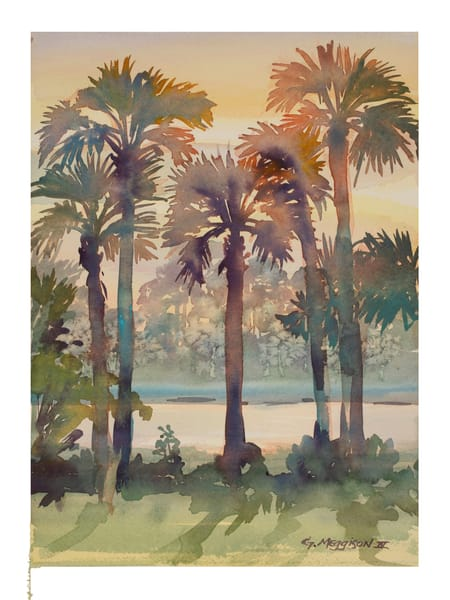 Intracoastal Palms 3 | Watercolor Landscapes | Gordon Meggison IV