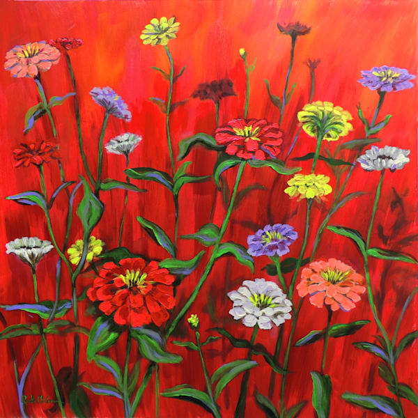 IREDescent Zinnias | acrylic painting of a colorful zinnia garden on a red background - original