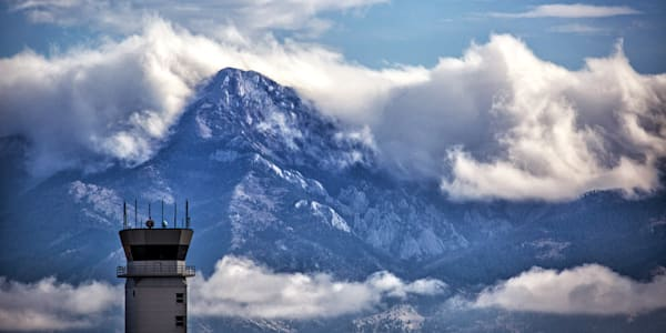 Airport Tower with Mountains