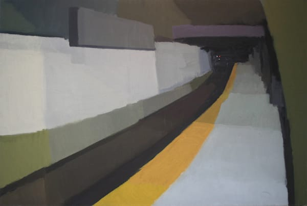 Shop for original paintings like 1st Ave Platform, L Train, East Village, oil on canvas by Shannon Rogers at Matt McLeod Fine Art Gallery.