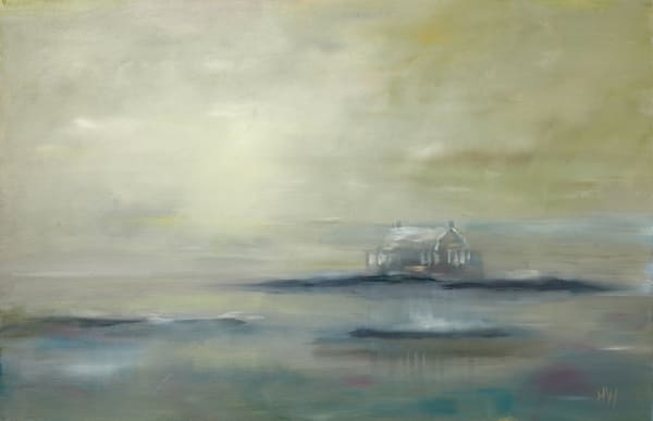 Thimble Islands in the fog painting by Holly Whiting