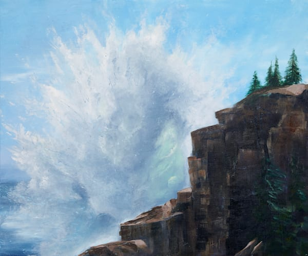 Giant Wave at Otter Cliff painting by Holly Whiting