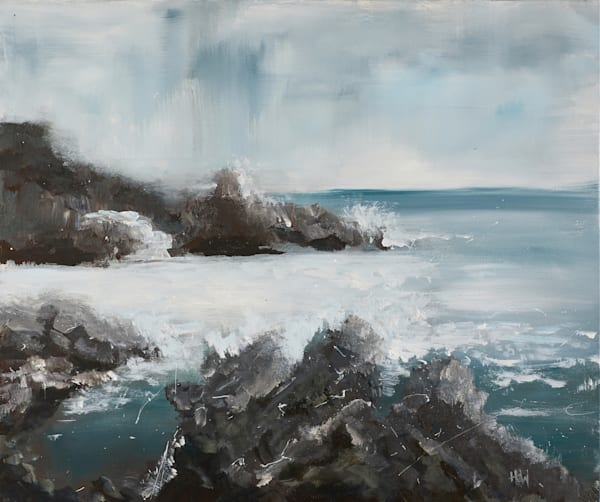 Waves at Acadia Great Head Trail, original painting by Holly Whiting