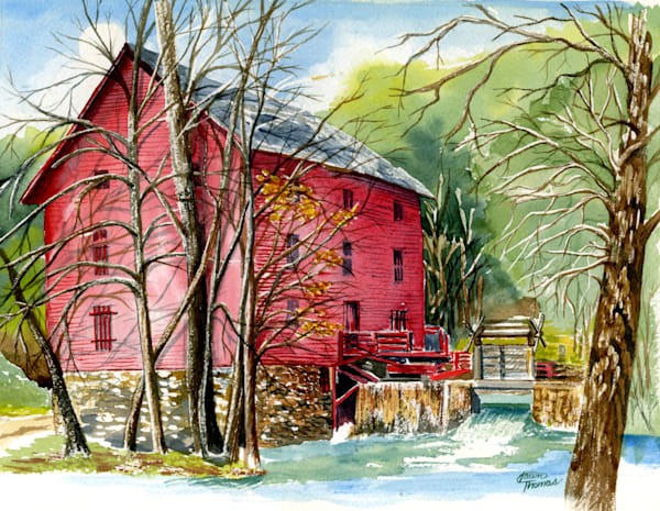 Purchase a print of the Alley Spring Mill painted by Dawn Thomas
