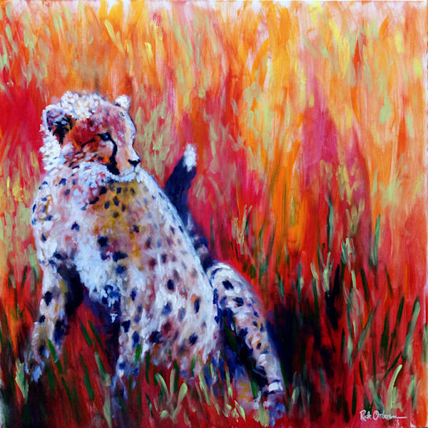 Cheetah Painting Print | Red Orange Background