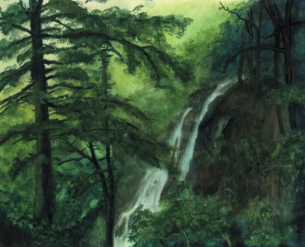 Waterfall: Luscious Limelight Art by blissfulbonita