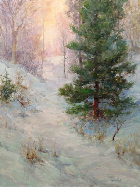 "Original oil painting by Eric Wallis titled: ""Winter Touches"""