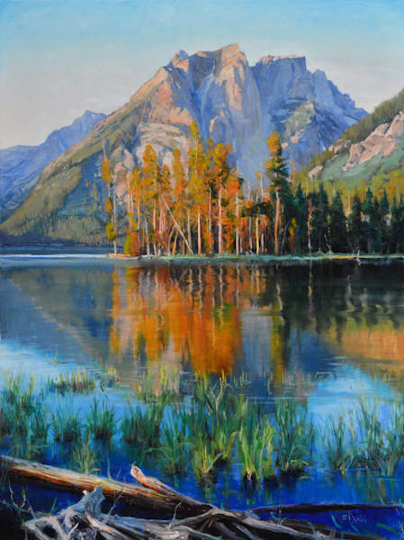 "Original oil titled, ""Summer Mountain Lake."""