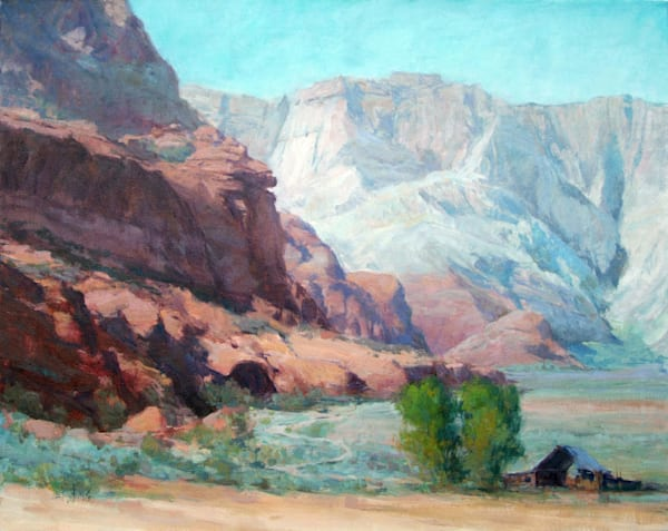 "Original oil by Eric Wallis titled, ""Southern Utah Barn."""