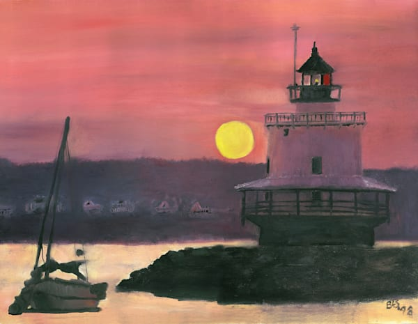 Lighthouse Peach Sunset