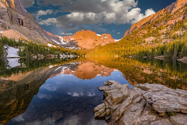 Sunrise Photo of The Loch with Mirror Lake Reflections RMNP