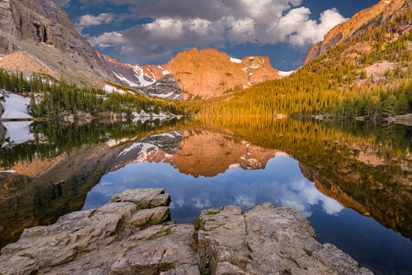 Photo of The Loch, Mt. Taylor and Cathedral Wall with Clouds at RMNP