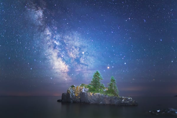Beautiful fine art photography print of the Milky Way over Hollow Rock, Lake Superior, Minnesota