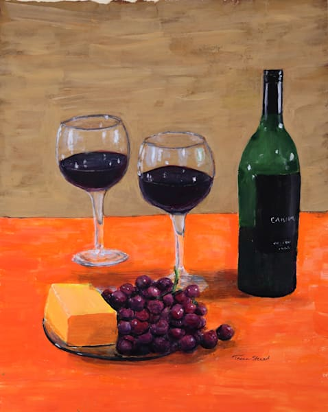 Wine and Cheese, Painting of Wine and Wine Glasses, Fine Art and Paintings for Sale by Teena Stewart of Serendipitini Studio
