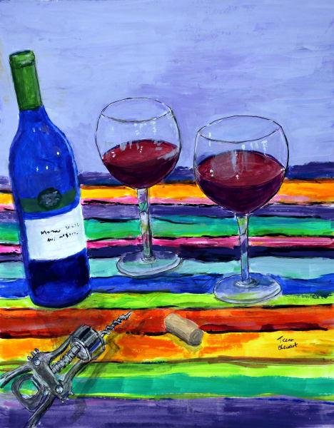 Blue Wine Bottle Painting, Original  Blue Wine Bottle Print, Fine Art and Paintings for Sale by Teena Stewart of Serendipitini Studio