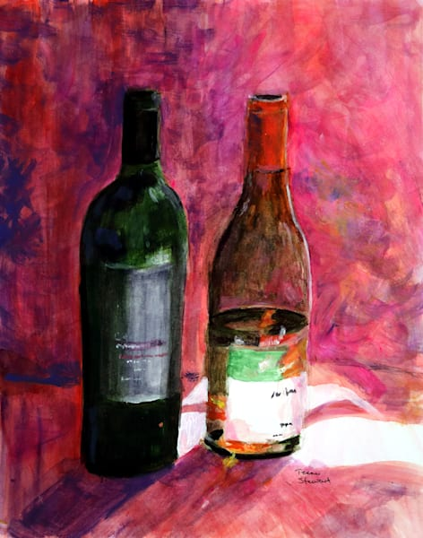 Two Wine Bottles, Painting of Wine Bottles, Fine Art and Paintings for Sale by Teena Stewart of Serendipitini Studio