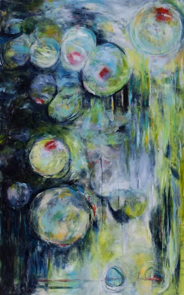 I Heard It ThroughThe Grapevine Acrylic Original Expressive Abstract Art Painting For Sale With Circles depicting The Action Of Sharing By Artist Stacey Kalavritinos 2017.