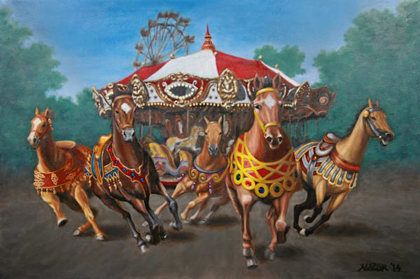 Carousel horses coming alive and escaping art paintings