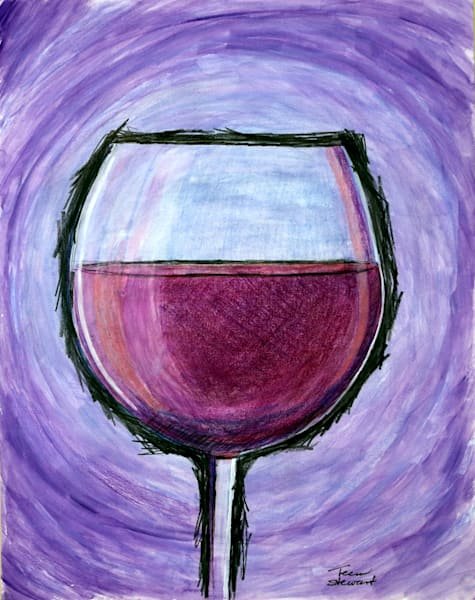 Large Wine Glass, Painting of a Large Wine Glass, Fine Art and Paintings for Sale by Teena Stewart of Serendipitini Studio