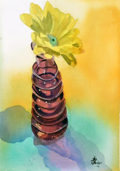 A watercolor painting of a yellow flower in a red vase - prints available