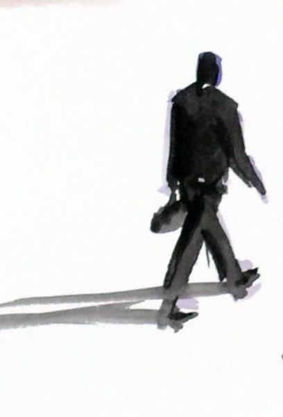 A watercolor sketch of a man walking - Prints available
