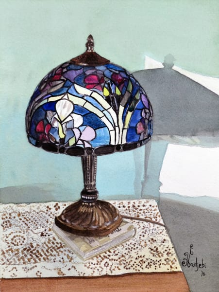 A watercolor painting of a Tiffany lamp,