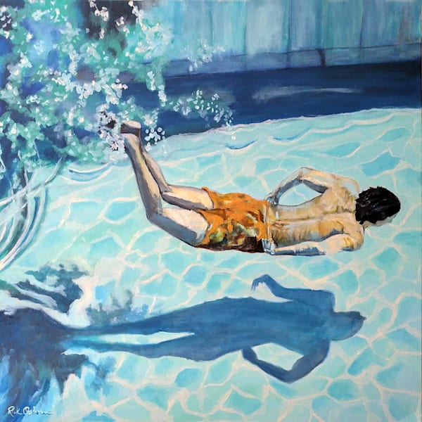 The Swimmer | Fine Art Painting Print of Swimmer in Pool