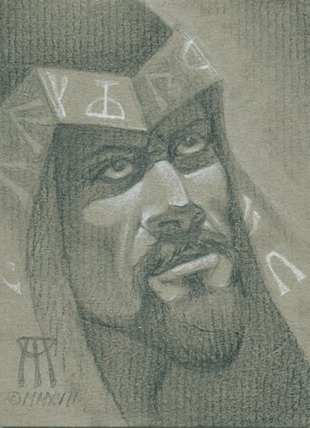 Small portrait detail from Syphon Soul, a MtG card drawn by Melissa A Benson