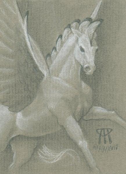 Iconic MtG Art Sold here! | Paintings and Mixed Media Art | Melissa Benson Illustration | Mesa Pegasus drawn on halftone paper