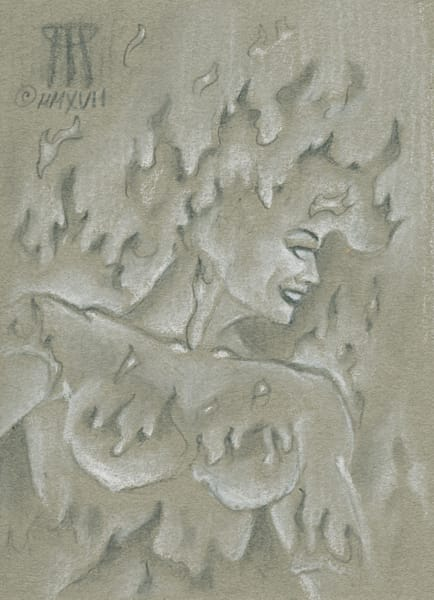 Iconic MtG Art Sold here!   Paintings and Mixed Media Art   Melissa Benson Illustration   Fire Elemental on halftone paper