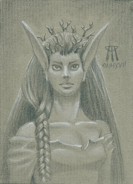 Paintings and Mixed Media Art   Small drawing of the Norwood Priestess magic card.