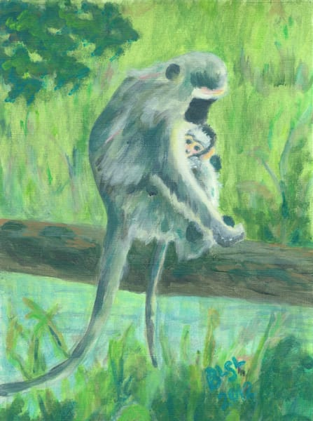 Monkey Mommy And Baby Art | Blissful Bonita Art Studio & Gallery