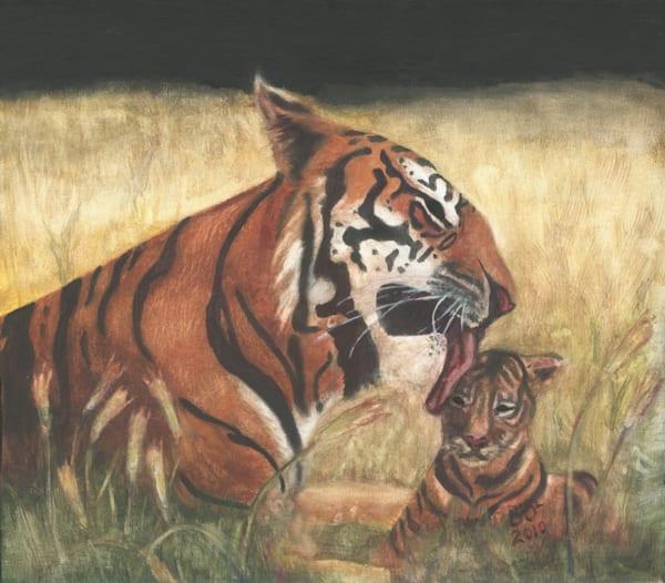 Mother Tiger And Cub Art | Blissful Bonita Art Studio & Gallery