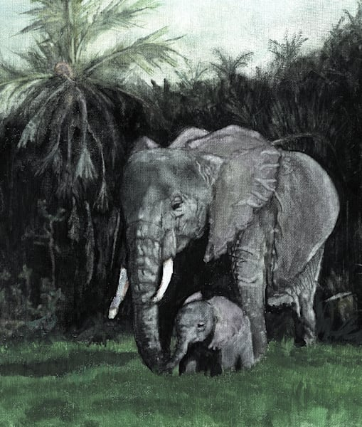 Elephants Mommy And Baby Vertical Art | Blissful Bonita Art Studio & Gallery