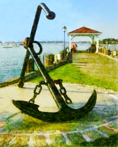 Northport Anchor, an art print of an original painting by the artist, Mary Ahern.