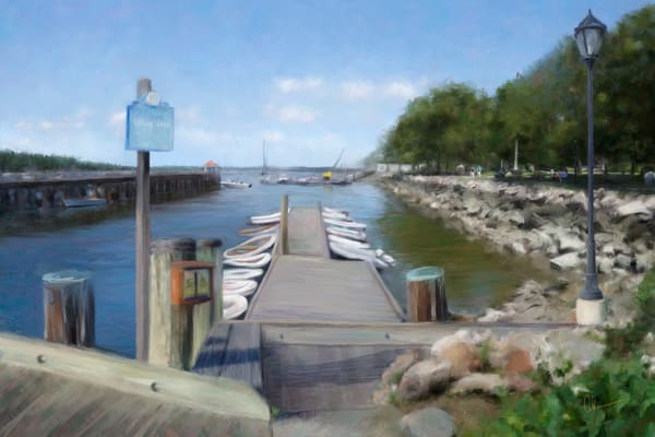 Northport Harbor, art print of an original painting by Mary Ahern the artist.