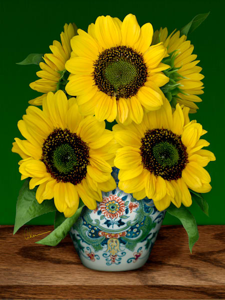 Art print of Sunflowers in a Makkum Pot, a still life. Homage to van Gogh. Wall art by Mary Ahern the Artist.