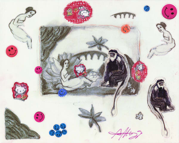 Laurencin's Monkey Contemporary Fine Art Sticker Sheet