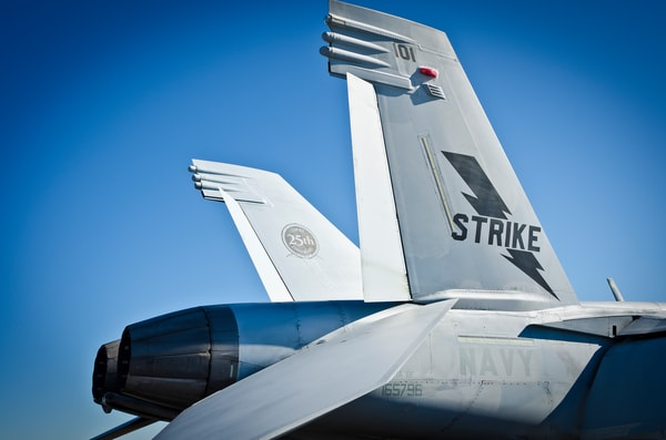 Side View Photograph of F-18 Hornet's Jet Engines and Tail