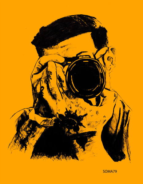 Man With Camera - Orange