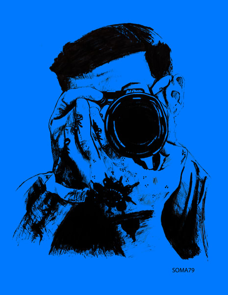 Man with Camera - Blue
