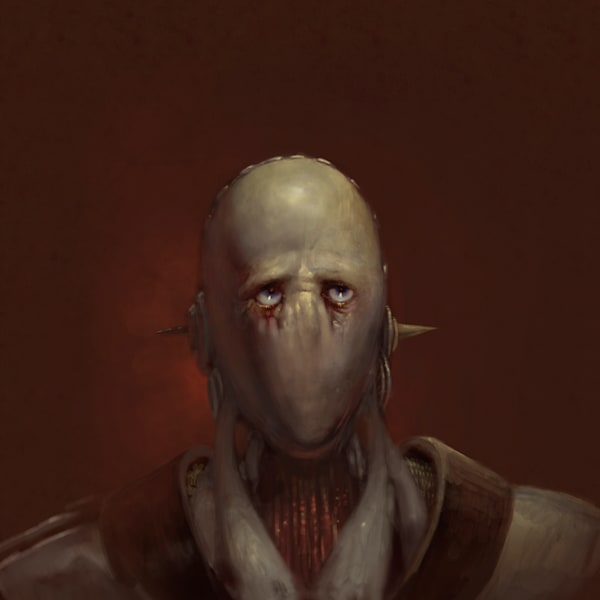 "Burton Gray's ""SAD ROBOT NO.1,"" A robot with sad eyes."