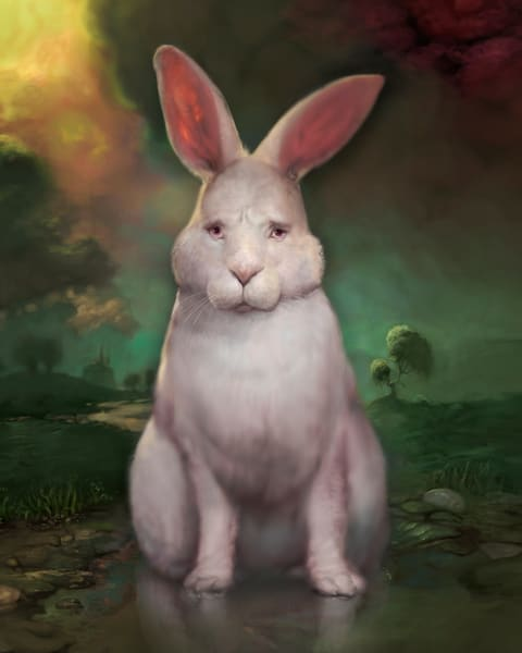 "Burton Gray's ""BUGSY,"" White rabbit stares out at you."