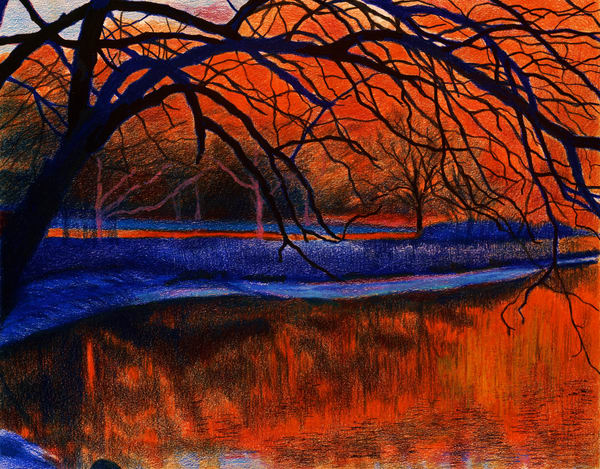 The Blazing Red Sun Over Inwood Hill Park For Sale