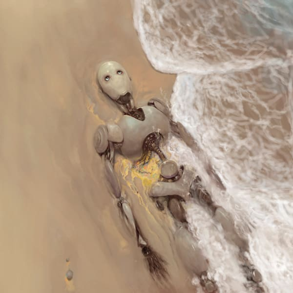 "Burton Gray's ""TRANSITIONS,"" sad robot dying on the beach."