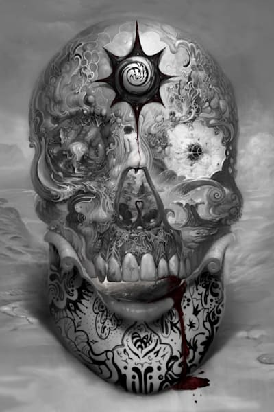 """TUNKL SKULL,"" by Burton Gray, black/white Phantasmagoria."