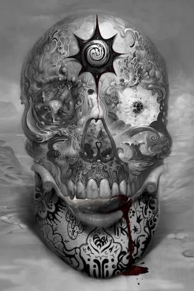 """""""TUNKL SKULL,"""" by Burton Gray, black/white Phantasmagoria."""