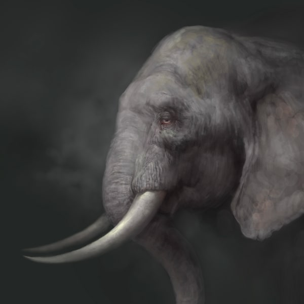 "Burton Gray's ""HEATHER,"" painting of a gray elephant."