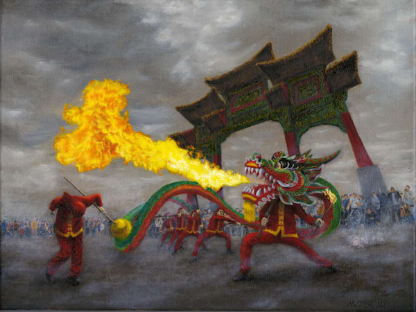 Real live Chinese fire-breathing dragon dancer art