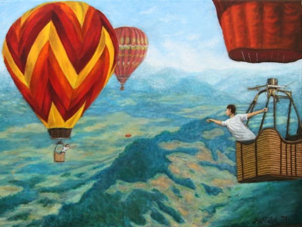Throwing and catching a Frisbee between hot air balloons art